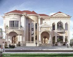 New Classic Villa in Saudi Arabia on Behance Classic House Exterior, Classic House Design, Dream House Exterior, Dream House Plans, Modern House Design, Villa Design, Style At Home, Fachada Colonial, Mansion Designs