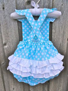 Turquoise Polka Dot Ruffle Bubble from Smocked Auctions