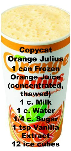 Orange Julius Recipe ~ You just need a blender and a few simple ingredients. Drinks Copycat Orange JuliusCopycat Orange Julius Recipe ~ You just need a blender and a few simple ingredients. Refreshing Drinks, Summer Drinks, Fun Drinks, Healthy Drinks, Beverages, Nutrition Drinks, Healthy Food, Alcoholic Drinks, Mixed Drinks