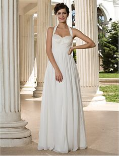 Sheath/Column Halter Floor-length Chiffon Wedding Dress Get wonderful discounts up to at Abbydress using Discount and Voucher Codes. Empire Line Wedding Dress, Classy Wedding Dress, Wedding Dresses With Straps, Wedding Dress Chiffon, Custom Wedding Dress, Bridal Dresses, Bridesmaid Dresses, Custom Dresses, Wedding Gowns