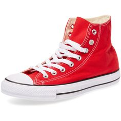 Converse Women's Chuck Taylor All Star Hi Top - Red - Size 4.5m/6.5w ($49) ❤ liked on Polyvore featuring shoes, sneakers, shoes/boots, converse, red, lacing sneakers, converse high tops, converse trainers, red hi tops and red trainer
