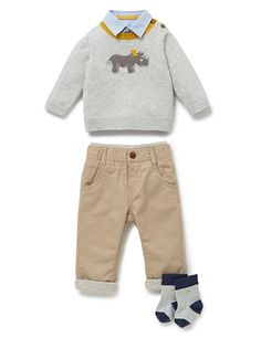 4 Piece Rhino Jumper, Shirt & Trousers Outfit with Socks £22.40