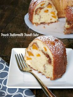 """""""Canned fruit, from peaches to pears to pineapple, are a great pantry staple. While canned fruit can be turned into many tasty recipes, like this Peach Buttermilk Bundt Cake, my kids get excited to have canned peaches or pears for dessert. I look for fruit canned in juice, which less sugar than fruit packed in syrup. It is convenient, delicious and everybody is happy! """" 