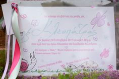 Cute, forest animals and butterflies drawings, pink stardust and girly ribbons invitation Butterfly Drawing, Baptism Invitations, Handwriting, Christening, Little Girls, Girl Baptism, Girly, Forest Animals, Ribbons