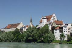 Wasserburg Blick über den Inn auf die Burg.