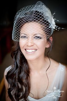 idea for hair down with birdcage veil. I like this a lot, I wonder if my hair will grow enough by then...
