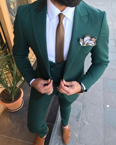 Collection: Fall – Winter Product: Slim-Fit Three Piece Suit Color Code: Green Size: Suit Material: Viscose, Polyester, Elestan Machine Washable: No Fitting: Slim-fit Package Include: Jacket, Vest and Pants Only Green Suit Men, Designer Suits For Men, Mens Fashion Suits, Men's Fashion, Three Piece Suit, Wedding Suits, Fall Outfits, Formal, Fall Winter