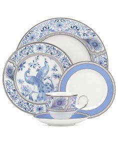 Marchesa by Lenox Dinnerware, Sapphire Plume 5 Piece Place Setting - Fine China - Dining & Entertaining - Macy's