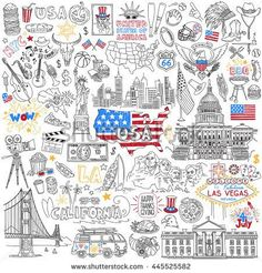united states of america popular symbols and landmarks - fast food jazz skyscrapers landmarks map silhouette flag eagle presidents dollar sport cinema. Statue Of Liberty Drawing, Travel Doodles, Bullet Journal Cover Ideas, I Love America, Sketch Notes, School Pictures, Cultura Pop, Graphic Design Illustration, Doodle Art
