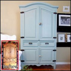 Armoire makeover (we have this same one) Furniture Projects, Furniture Making, Home Projects, Diy Furniture, Furniture Design, Blue Furniture, Western Furniture, Furniture Removal, Steel Furniture