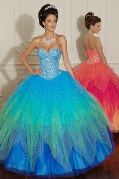 New Arrival Sweetheart Beaded Bodice Floor Length Quinceanera Dress Multi Color USD 299.99 BPP8QZ8LP6 - BrandPromDresses.com