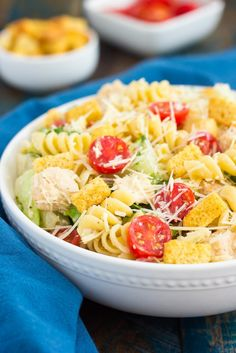 This Chicken Caesar Pasta Salad is a simple dish that's ready in less than 30 minutes!