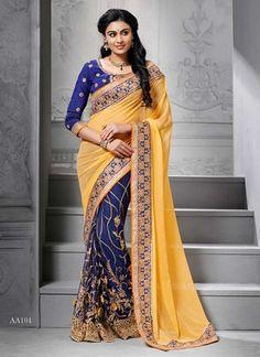 Epitome Mustard And Blue Embroidery Resham Work Wedding Saree http://www.angelnx.com/Sarees/Party-Wear-Sarees