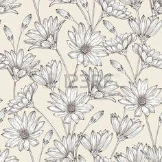 marguerite dessin: Vector seamless floral avec des fleurs sur un fond clair dans le style vintage. Fond monochrome.