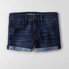 AEO Denim X Cafe Hi-Rise Shorts ($45) ❤ liked on Polyvore featuring shorts, american eagle outfitters, denim shorts, american eagle outfitters shorts and fitted shorts