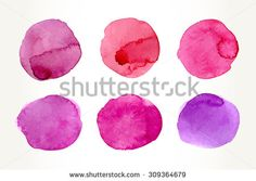 Hand drawn colorful pink watercolor circles, isolated over white.