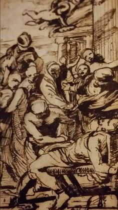PREPARATORY SKETCH FOR THE MARTYRDOM OF ST. ERASMUS. 1628. pencil,  pen brown ink and wash on paper. 20 × 12,3 cm. Nicolas Poussin, Sketch, Pencil, Ink, Brown, Paper, Sketch Drawing, Sketches, Brown Colors