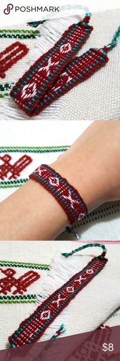 """oxo Boho Woven Bracelet oxo 🔮ASK ME TO CREATE A NEW LISTING W/ YOUR LIKES for 10% DISCOUNT DON'T USE """"ADD TO BUNDLE"""" BUTTON ⇨ Get a FREE Bracelet!  •Handmade using a loom by skilled Ecuadorian artisans!  •Burgundy, sky blue, green, white & black handwoven with wool thread patterned bracelet. (Very soft & light weight feel on wrist)  • ⓢⓘⓩⓔ: 5 1/2 inches around wrist  •Coachella/BurningMan/raves/Friendship/Weaved/Geometric/Bohemian/Gypsy/Aztec/Hipster/Tribal/Traditional/Ethnic/Urban Jewelry…"""