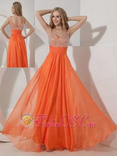 Customize Orange Empire Straps Prom Dress Chiffon Beading Floor-length- $146.38  http://www.fashionos.com  http://www.facebook.com/prom.fashionos.us  Glistening spaghetti straps connect to a shimmering sweetheart neckline on this classy full length gown. Flattering beadings on the bustline and ruchings meet at the empire waistline, where gentle pleats flow effortlessly through the skirt to create a gentle wave around your skirt.