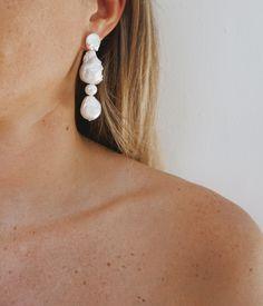 NST Studio | Baroque Pearl Drop Earrings - Medium Pearl Earrings Wedding, Pearl Drop Earrings, Pearl Jewelry, Bridal Jewelry, Beaded Earrings Patterns, Baroque Pearls, Jewelry Trends, Wedding Accessories, Fashion Earrings