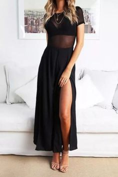 2021 Summer Sexy Temperament Women's Pullover High Waist Split Casual Jumpsuit Ladies Sexy Mesh Hollow Out Stitching Playsuits Basic Fashion, Womens Fashion, Stylish Outfits, Cute Outfits, Chiffon, Retro Mode, Casual Jumpsuit, Elegant Jumpsuit, Black Jumpsuit
