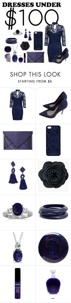"""Dresses Under $100 - Out At Midnight"" by malecsizzyclace ❤ liked on Polyvore featuring Dorothy Perkins, Zara, Samantha Warren London, BaubleBar, Chico's, ZENZii, Ice, Lauren B. Beauty, NYX and Chanel"
