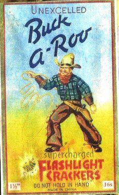 Buck-a-Roo firecracker label