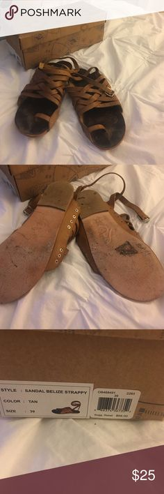 Free People Belize Strappy Sandal Color tan. Size 39. I wear 8.5-9. Worn only a few hours at a music festival. They were a little sloppy on the grass which is why I'm selling. Free People Shoes Sandals