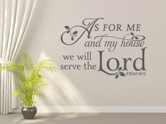 Religious Wall Decal. As for me and my house.  by We Are Vinyl Designs.
