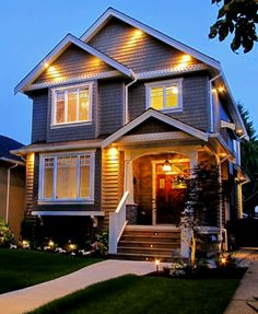 Cute homes on pinterest small homes cottages and cute cottage - Exterior accent lighting for home ...