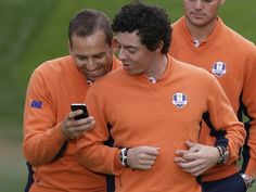 Sergio Garcia shares a laugh with European teammate Rory McIlroy but what is being said?  Very young children I used to start them off throwing bean bags at the pro which is the same movement as a golf swing then putting, kids love to be in groups and being competative
