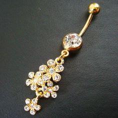 14g~3/8 Flower Belly Button Navel Rings Ring Bar