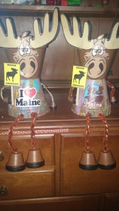 Maine Moose Crossing clay pot shelf sitters