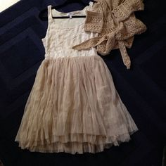 Delia's dress Cream and beige tulle Delia's dress.  pair with a shrug or a denim jacket Delia's Dresses Mini
