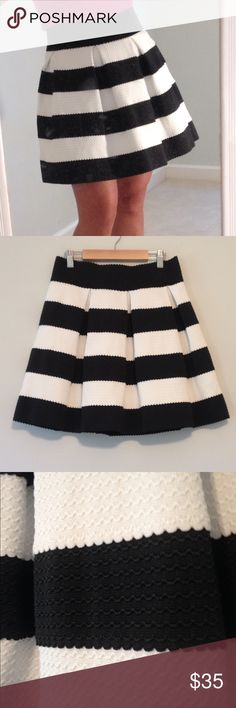 "Stripe Flair Pleated Skirt. NWOT Black and white striped pleated a-line, flair, mini-skirt. This skirt has tons of stretch to it and has weight so it will not fly up in the wind. Cute scalloped embroidery pattern throughout the entire skirt. I bought from a local boutique for a party but ended up not going to the party and have not  worn the skirt out. Just tried it on and to take these pictures.   WAIST unstretched laying flat:  12"" but can stretch to a lot more.   LENGTH: 18"". Back looks…"