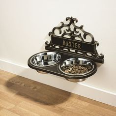 Personalised Scrolled Hanging Double Pet Feeder