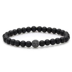 Matte Black Onyx Men Bracelet #black #exclusive #men #onyx #silver #bracelet #menfashion