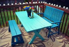 Blue painted picnic table.  Table is Dutch Boy 'Lake Superior' and seats are Rust-Oleum 'Lagoon'.