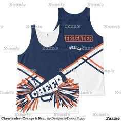 Cheerleader -Orange & Navy Blue All-Over Print Tank Top