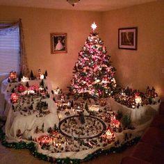 Christmas Tree Train, Christmas Tree Village, Christmas Swags, Christmas Villages, Noel Christmas, Rustic Christmas, Christmas Ornaments, Christmas Village Decorations, Decoration Christmas