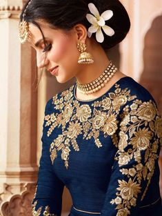 Deep Blue and Gold Embroidered Art Silk Anarkali Embroidery Suits Punjabi, Hand Embroidery Dress, Kurti Embroidery Design, Embroidery Neck Designs, Embroidery Fashion, Gold Embroidery, Shadi Dresses, Pakistani Formal Dresses, Pakistani Dress Design