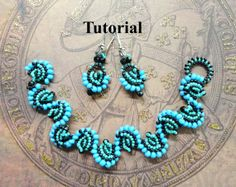 PDF for Cellini Spiral Bracelet and Earrings - beadweaving beading tutorial - beadwoven beading pattern beaded seed bead jewelry - BLUE WAVE...