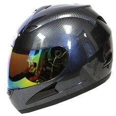 Motorcycle Street Bike Fiber Carbon Black Full Face Adult Helmet + Bonus: One Clear Lens