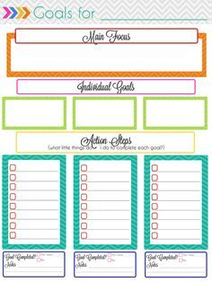 This site has so many printable planner pages! This is a goal setting page, and she has links to calendars too. Available for free!