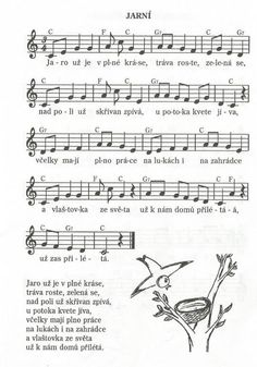 Jarní Aa School, School Clubs, Kids Songs, Music Notes, Ukulele, Sheet Music, Kindergarten, Spring, Jar