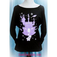 Haunted Twilight Castle 3/4 Sleeve Wideneck Sweatshirt Kawaii Fairy... ($35) ❤ liked on Polyvore featuring tops, hoodies, sweatshirts, dark olive, women's clothing, three quarter sleeve shirts, sweatshirts hoodies, pastel shirts, 3/4 length sleeve shirts and sweat shirts