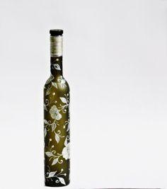 Dark Green Matt Glass Hand Painted Bottle  by NevenaArtGlass, $34.90
