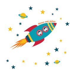 Rocket Wall Decal Boys Name Outer Space Kids Room by StyleAwall