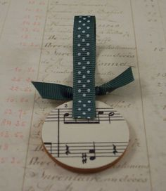 Decoupaged Wooden Christmas Ornaments ~ print sheet music for Christmas Carols