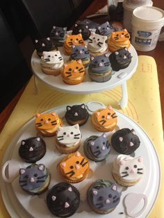 Kitty cat cupcakes for an animal charity bake sale and like OMG! get some yourself some pawtastic adorable cat apparel! Birthday Cake For Cat, Themed Birthday Cakes, Birthday Cake Smash, Themed Cupcakes, Birthday Cupcakes, Cupcake Day, Cupcake Cakes, Kreative Desserts, Cat Cookies